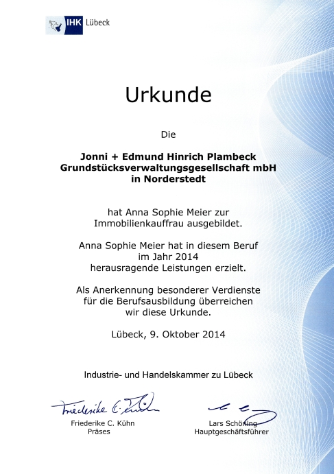 24 oktober 2014 drei azubis aus der plambeck gruppe f r. Black Bedroom Furniture Sets. Home Design Ideas